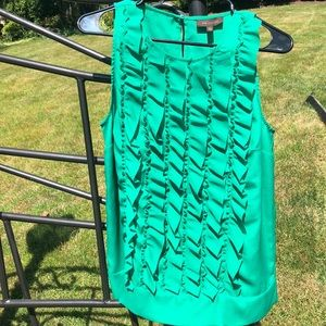 NWT The Limited green ruffled sleeveless top Large